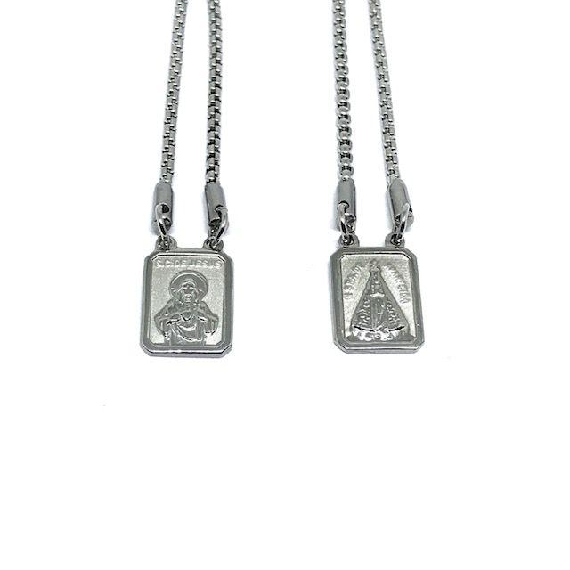 Escapulário aço Premium Alto Relevo SC Jesus & NS Aparecida [60cm]