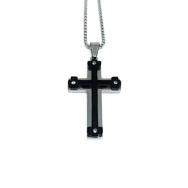 Colar aço Premium Crucifixo Life King