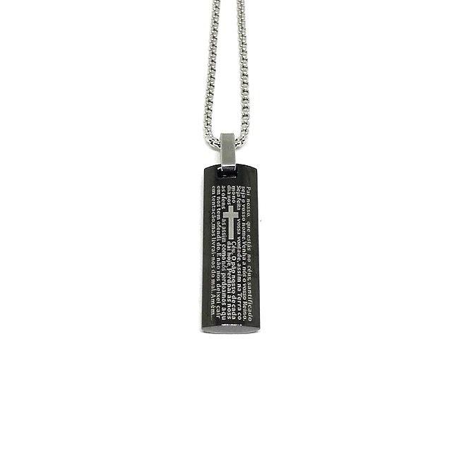 Colar Oração Pai Nosso Minimalista Black [aço Premium]