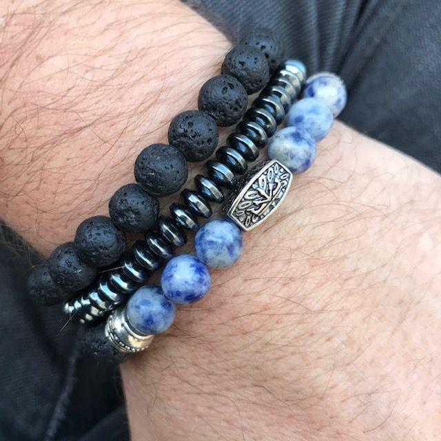 Pulseiras Kit 3 em 1 Pedra Lápis Lazuli & Pedra Hematita Disco