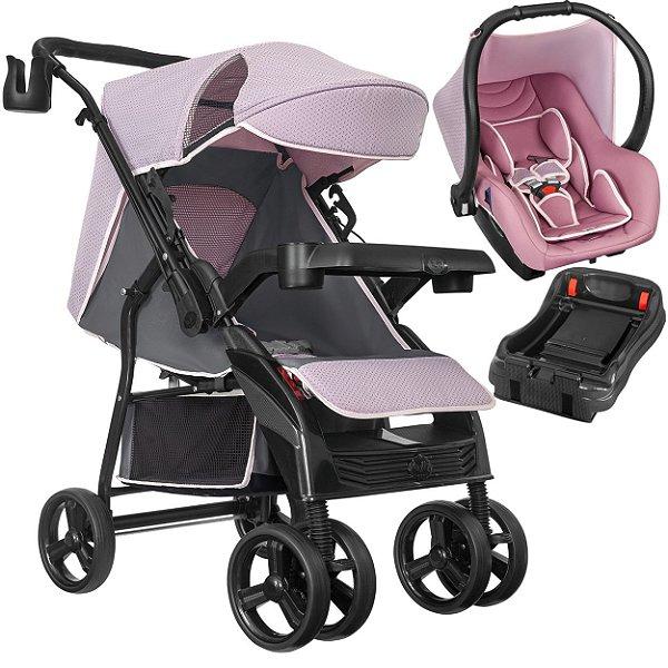 Carrinho de Bebe Tutti Baby Nivo com Bebe Conforto Base Rosa
