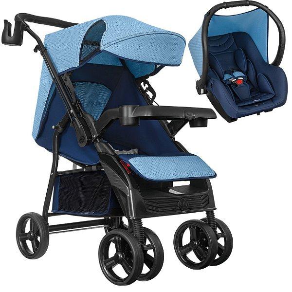 Carrinho de Bebe Tutti Baby Nivo Azul com Bebe Conforto