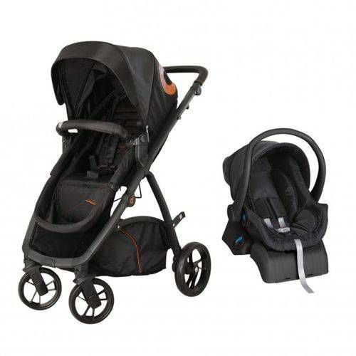 Carrinho de Bebe Bebe Conforto e Base  Dzieco Maly Preto/Caramelo