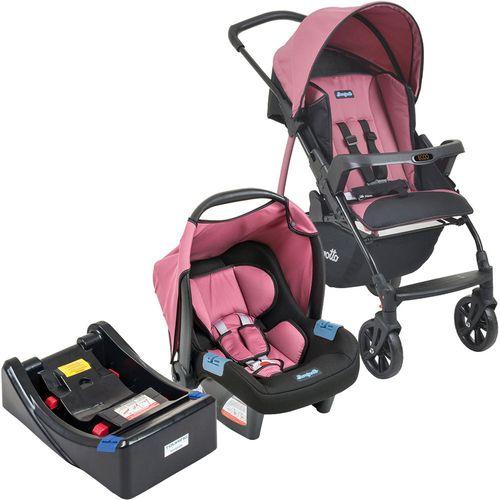 Carrinho de Bebe Bebe Conforto e Base Burigotto Ecco Preto/Rosa