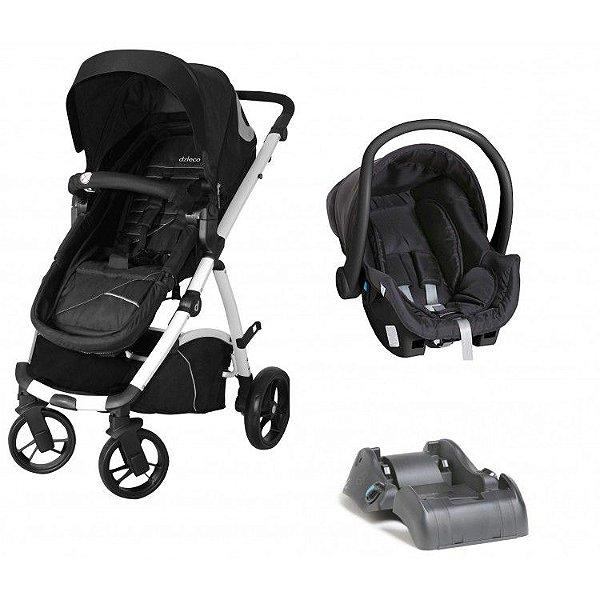 Carrinho de Bebe Bebe Conforto e Base Dzieco Maly Preto/Cinza
