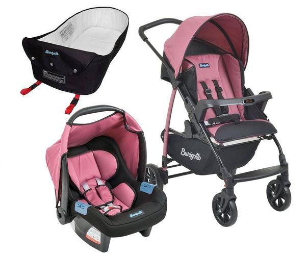 Carrinho de Bebe Bebe Conforto e Ninho Burigotto Ecco Preto/Rosa