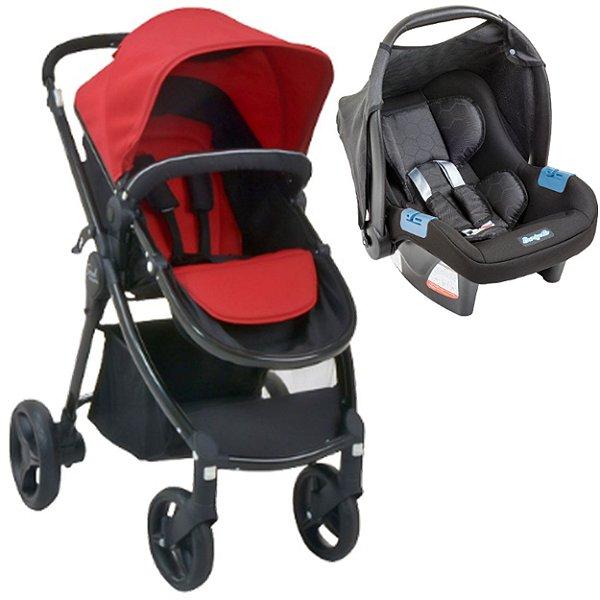 Carrinho de Bebe e Bebe Conforto Burigotto Soul Red Black Travel System