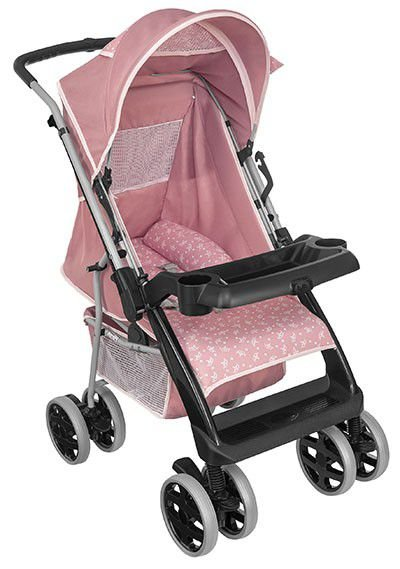 Carrinho de Bebe Passeio Tutti Baby Thor Rosa Coroa
