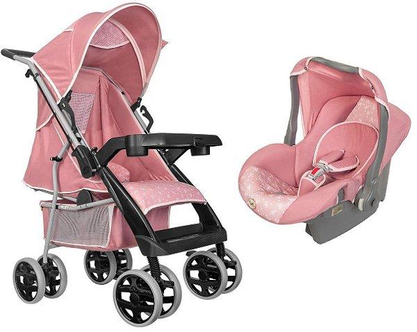 Carrinho de Bebe com Bebe Conforto Tutti Baby Thor Rosa Coroa