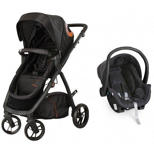 Carrinho de Bebe Bebe Conforto Dzieco Maly Preto/Caramelo
