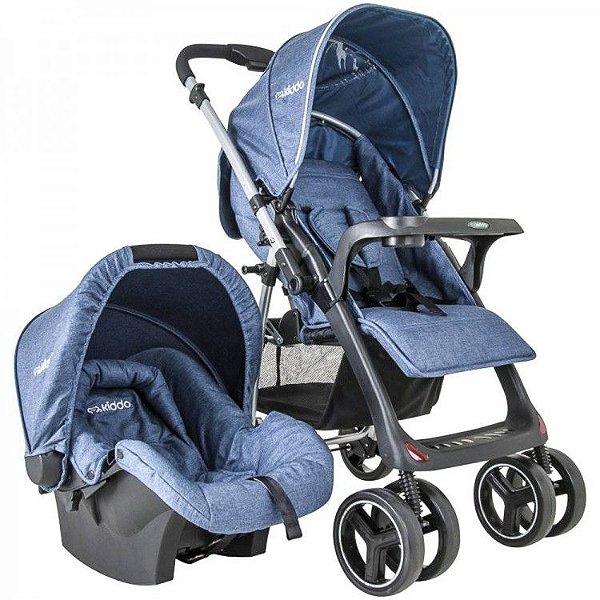Carrinho de Bebe com Bebe Conforto Kiddo Zap Melange Azul