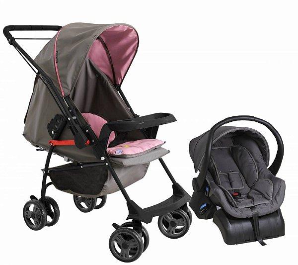 Carrinho de Bebe Bebe Conforto e Base Galzerano Milano II Grafite Rosa