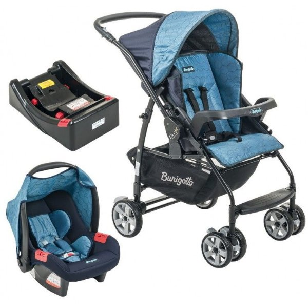 Carrinho de Bebe Bebe Conforto e Base Burigotto Rio K Geo Azul