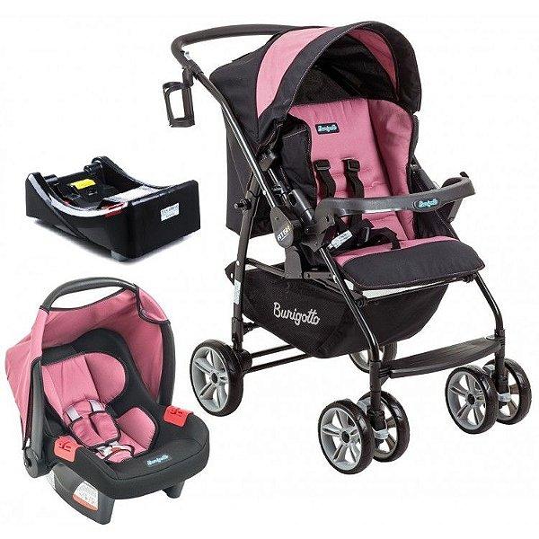 Carrinho de Bebe Bebe Conforto e Base Burigotto AT6 K Preto/Rosa