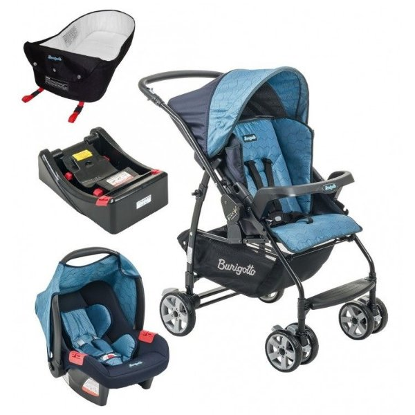 Carrinho de Bebe Bebe Conforto Base e Ninho Burigotto Rio K Geo Azul