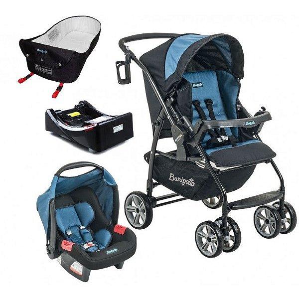 Carrinho de Bebe Bebe Conforto Base e Ninho Burigotto AT6 K Preto/Azul