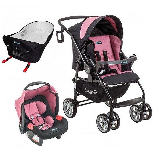 Carrinho de Bebe Bebe Conforto e Ninho Burigotto AT6 K Preto/Rosa