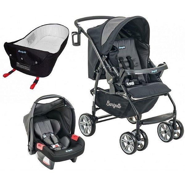 Carrinho de Bebe Bebe Conforto e Ninho Burigotto AT6 K Preto/Cinza