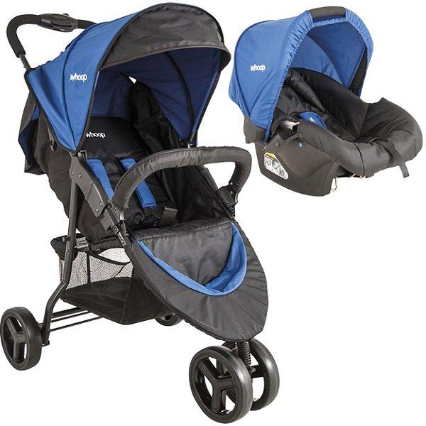 Carrinho de Bebe Passeio com Bebe Conforto Kiddo Trio Azul
