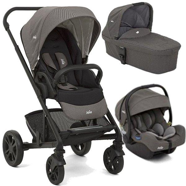 Carrinho de Bebe com Bebe Conforto e Moises Joie Chrome Foggy Grey Cinza