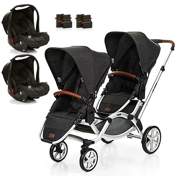 Carrinho de Bebe Para Gemeos ABC Design Zoom Piano Black Preto com 2 Bebe Conforto Risus e 2 Adaptadores