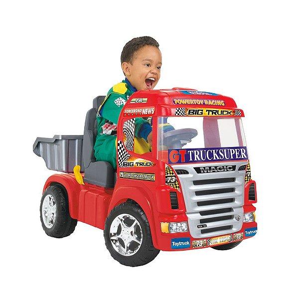 Mini Caminhão Elétrico Truck Volante Luz Som com Capacete 1900 Magic Toys