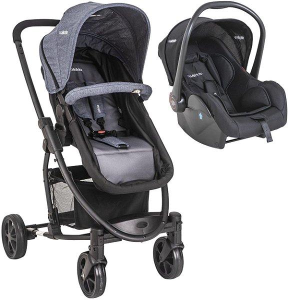 Carrinho de Bebe com Bebe Conforto Kiddo Prima Melange Azul
