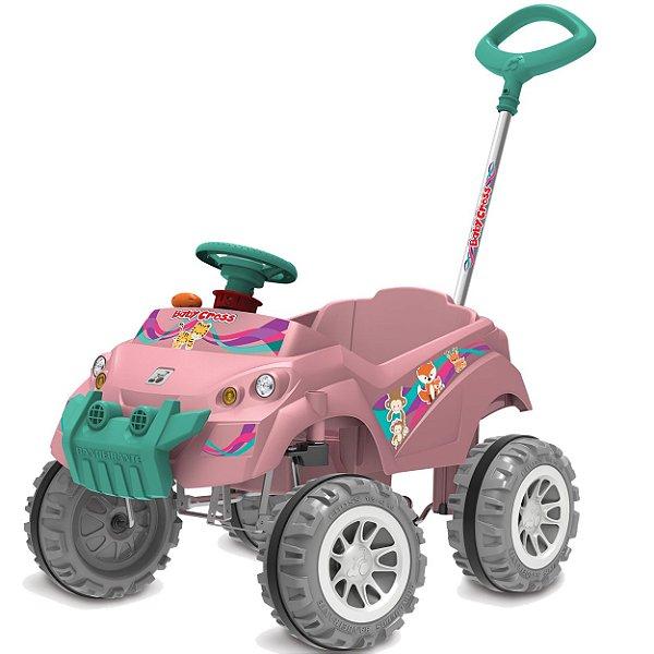Carrinho de Passeio e Pedal Babycross Bandeirante Rosa