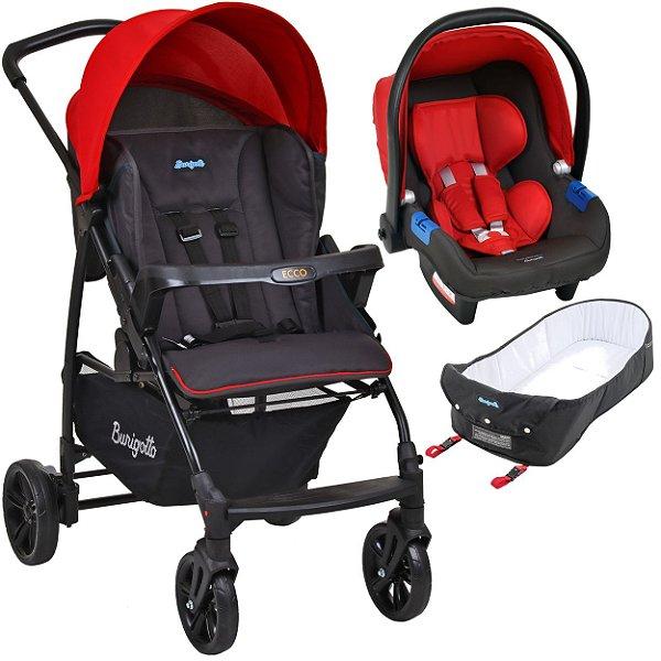 Carrinho de Bebe Bebe Conforto e Ninho Burigotto Ecco Cinza Vermelho