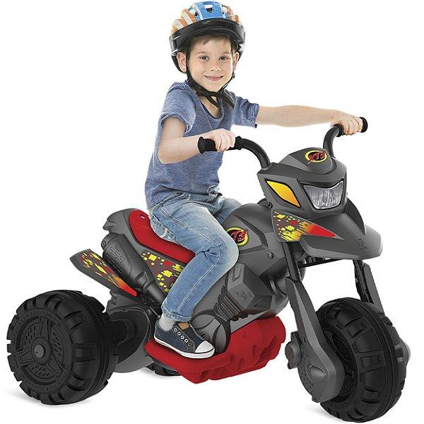 Moto Eletrica Infantil Bandeirante XT3 6V Grafite Cinza