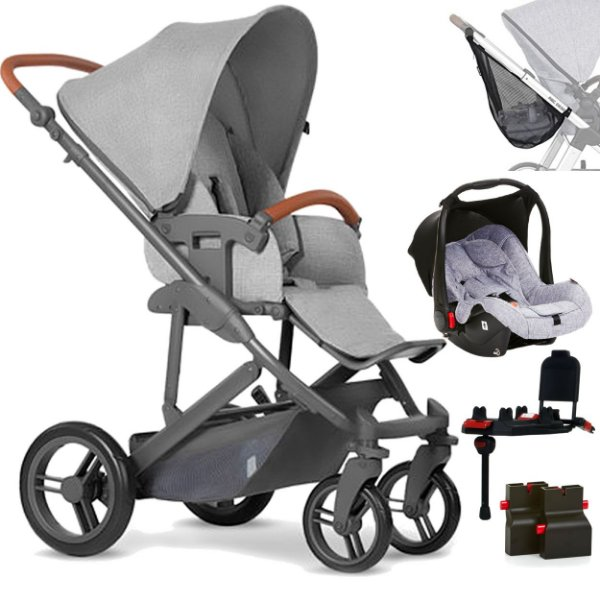 Carrinho Bebe Conforto Base ABC Design Merano 4 Woven Grey