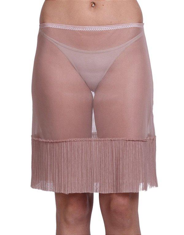 Anágua Saia Cleo Milani Tule Plissada Nude
