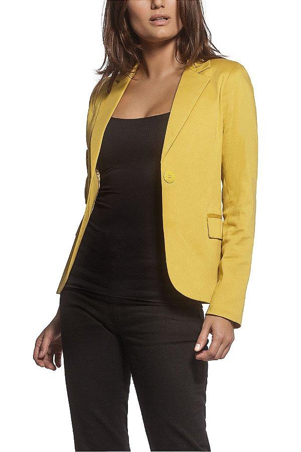 Blazer Alfaiataria Clássico Sarja Amarelo Mostarda