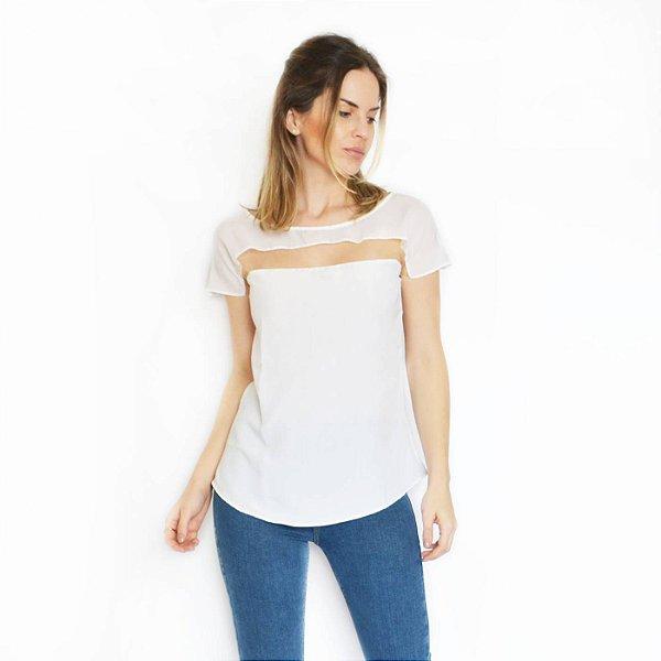 Blusa crepe recorte tule branco