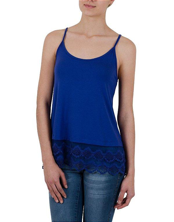 Blusa de Alcinha Cleo Milani com Barra de Renda Azul Bic