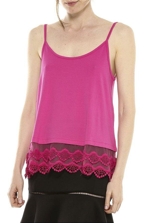 Blusa de Alcinha Cleo Milani com Barra de Renda Pink