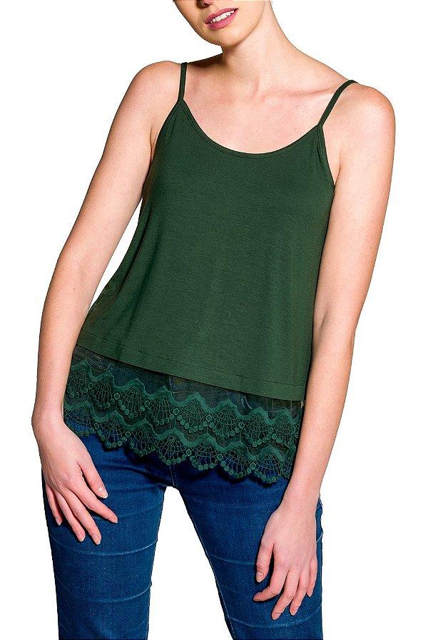 Blusa de Alcinha Cleo Milani com Barra de Renda Verde Musgo