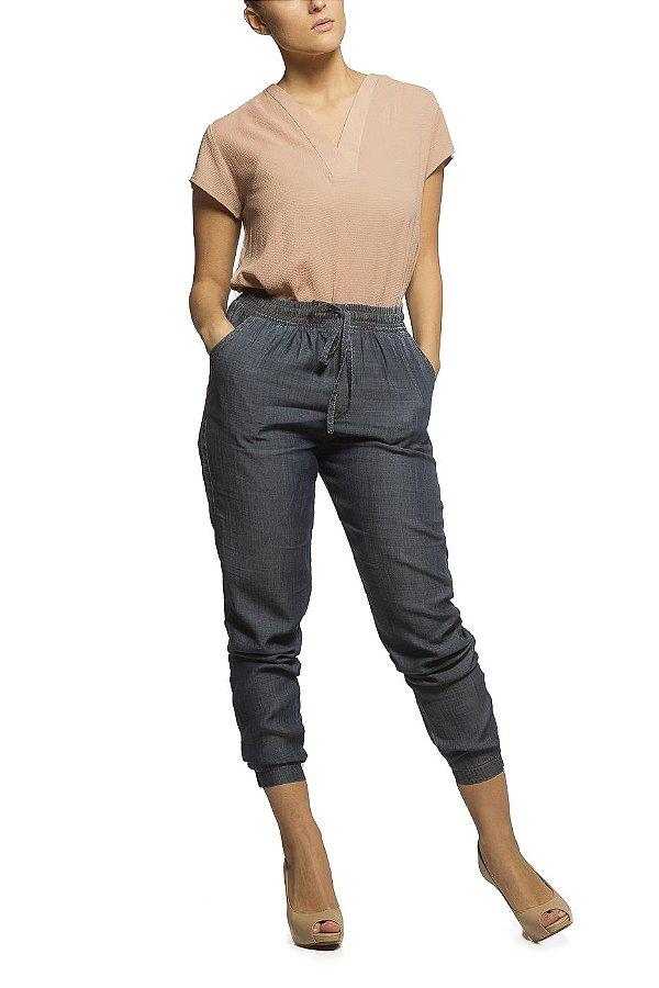 Calça Pijama Jeans Azul Escuro