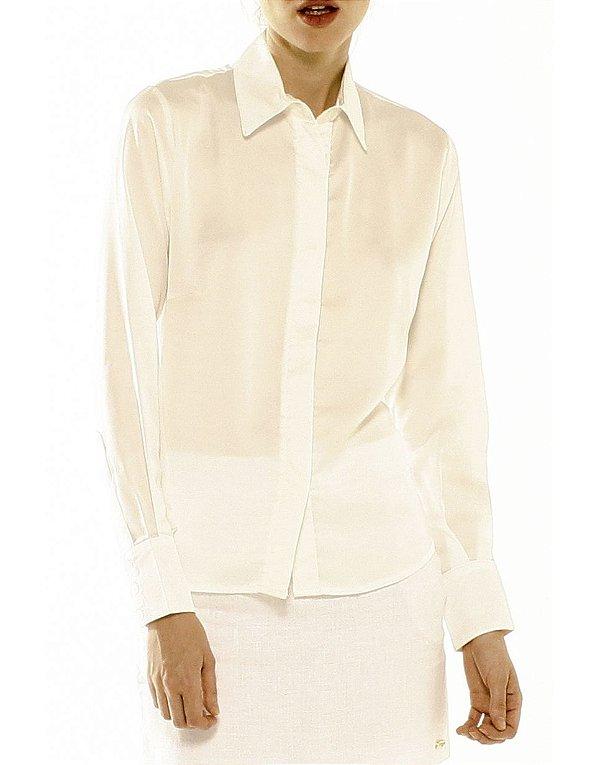 Camisa Tradicional Crepe Marfim