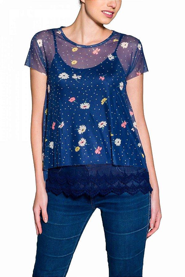 Camiseta de Tule Cleo Milani Manga Curta Marinho com Flores e Poás