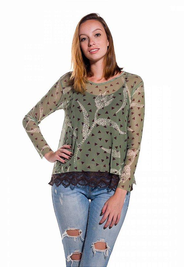 Camiseta de Tule Cleo Milani Verde com Triângulo Marrom