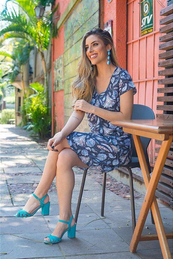 Vestido Azul Estampado Flores