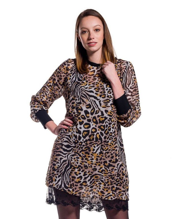 Vestido Chiffon Mix Animal Print