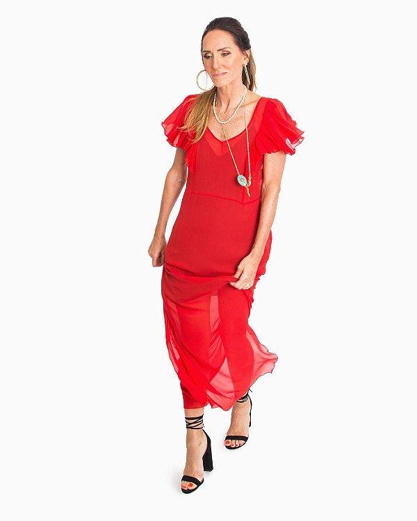 Vestido de Festa Vermelho em Seda Pura Manguinha Boba