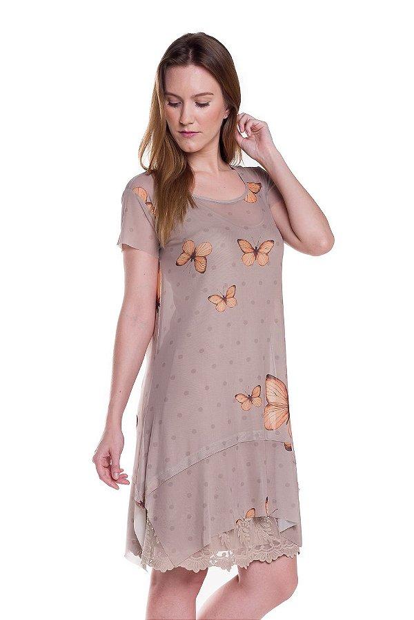 Vestido de Tule Borboletas Areia