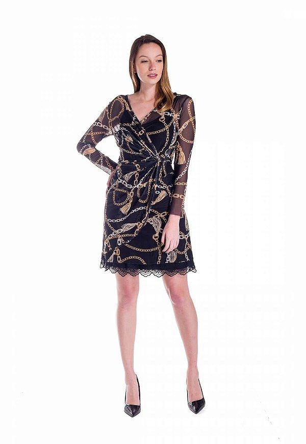 Vestido de Tule Cleo Milani Drapeado Preto com Estampa Correntes