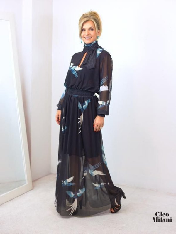 Vestido de Tule Cleo Milani Longo Preto