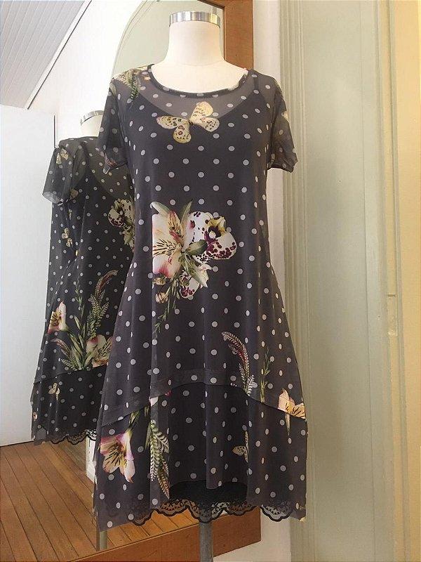 Vestido de Tule Cleo Milani Poa e Flores