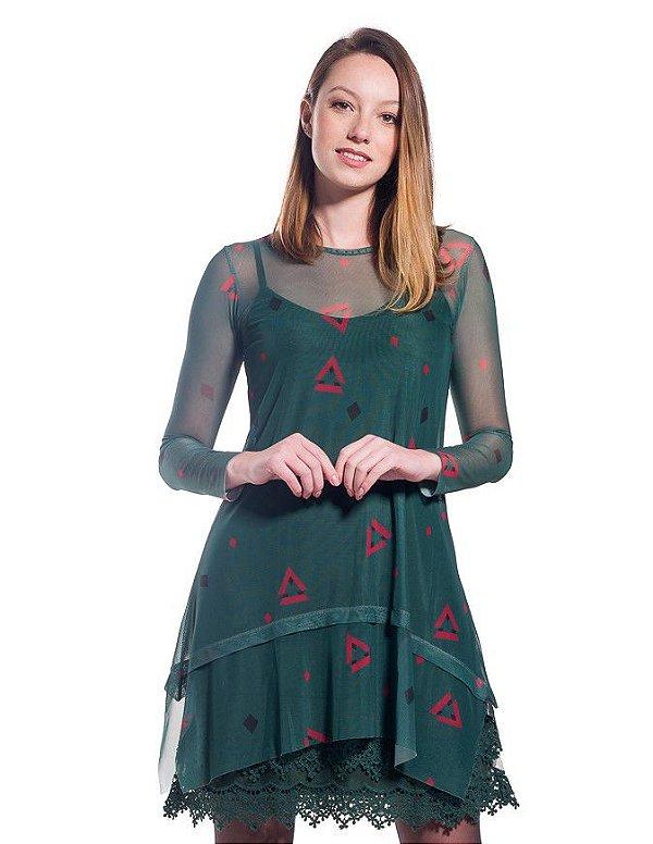 Vestido de Tule Cleo Milani Verde Musgo com Triângulos