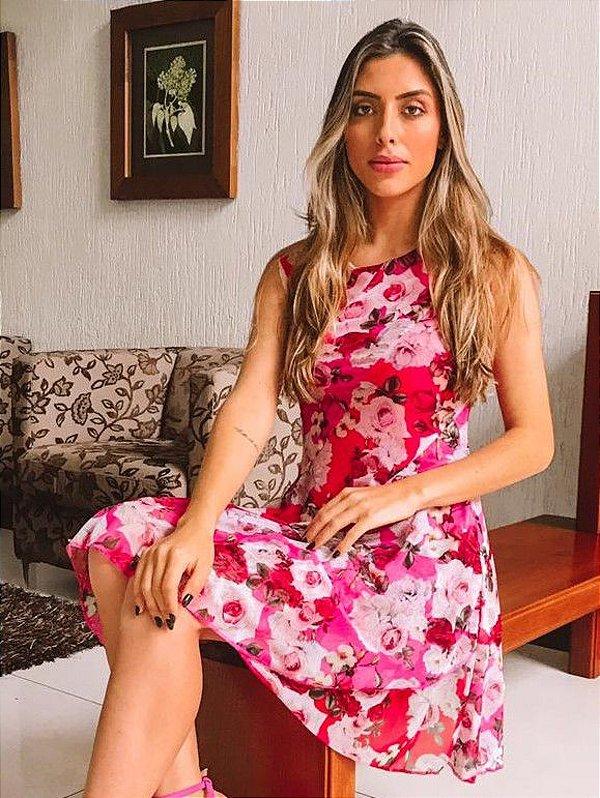Vestido Rosa Estampa Floral